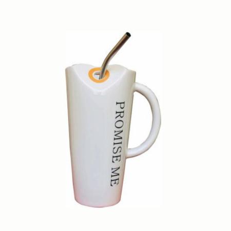 Promise Me Ceramic Mug with Metal Straw