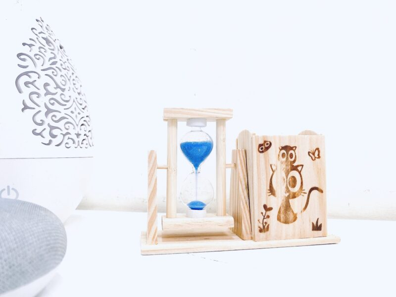 Wooden Two Hourglass Timer Pen Stand/Pencil Stand for Office