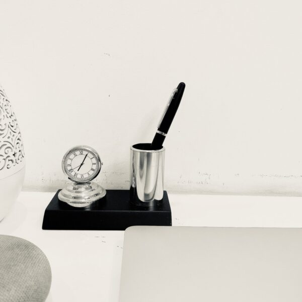 Metal Pen stand with clock