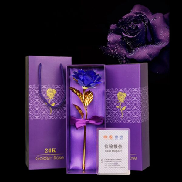 24K Gold Foil Artificial Blue Rose Flower