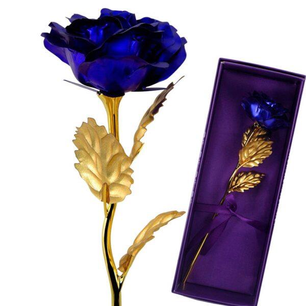 24K Gold Foil Artificial Blue Rose Flower