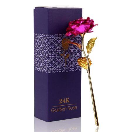 24K Gold Foil Artificial Pink Rose Flower